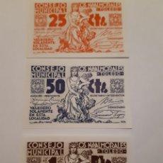 Monedas locales: BILLETES LOCALES 3 BILLETES25 Y 50CTS Y 1 PTA LOS NAVALMORALES TOLEDO GUERRA CIVIL.. Lote 246017955