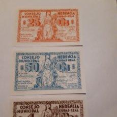Monedas locales: BILLETES LOCALES 3 BILLETES25 Y 50CTS Y 1 PTA HERENCIA CIUDAD REAL GUERRA CIVIL.. Lote 246018775