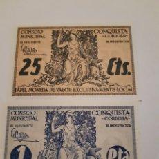 Monedas locales: BILLETES LOCALES BILLETES 25 CTS Y 1 PTA SIN CIRCULAR CONQUISTA CÓRDOBA GUERRA CIVIL.. Lote 246019480