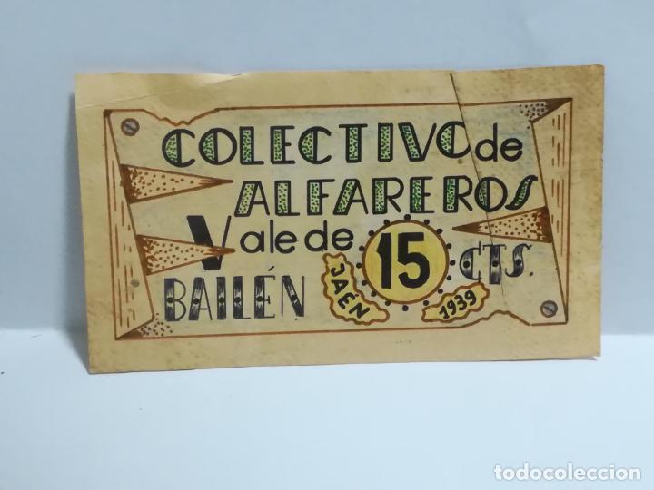 COLECTIVO DE ALFAREROS. VALE DE 15 CENTIMOS. 1939. BAILEN, JAEN. VER DORSO (Numismática - España Modernas y Contemporáneas - Locales y Fichas Dinerarias y Comerciales)