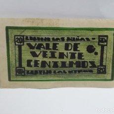 Monedas locales: CORTIJO LAS NIÑAS. VALE DE 20 CENTIMOS. ZAMORANOS DE PRIEGO, CORDOBA. 1936. VER DORSO. Lote 246139525