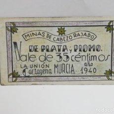 Monedas locales: MINAS CABEZO RAJADO. PLATA Y PLOMO. VALE POR 35 CENTIMOS. 1940. LA UNION, CARTAGENA. VER. Lote 246139825