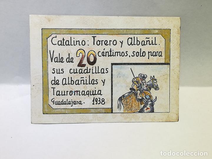 CATALINO. TORERO Y ALBAÑIL. VALE DE 20 CENTIMOS. 1938. GUADALAJARA. VER DORSO (Numismática - España Modernas y Contemporáneas - Locales y Fichas Dinerarias y Comerciales)