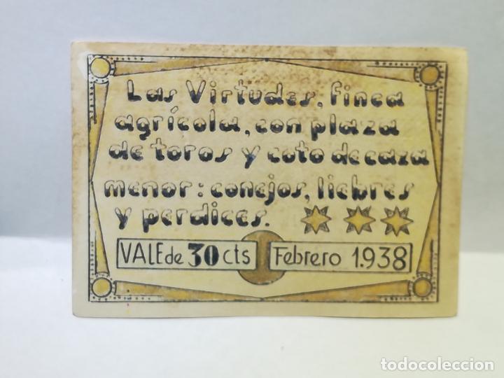 LAS VIRTUDES. FINCA AGRICOLA CON PLAZA DE TOROS Y COTO DE CAZA MENOR. VALE DE 30 CENTIMOS. 1938 (Numismática - España Modernas y Contemporáneas - Locales y Fichas Dinerarias y Comerciales)