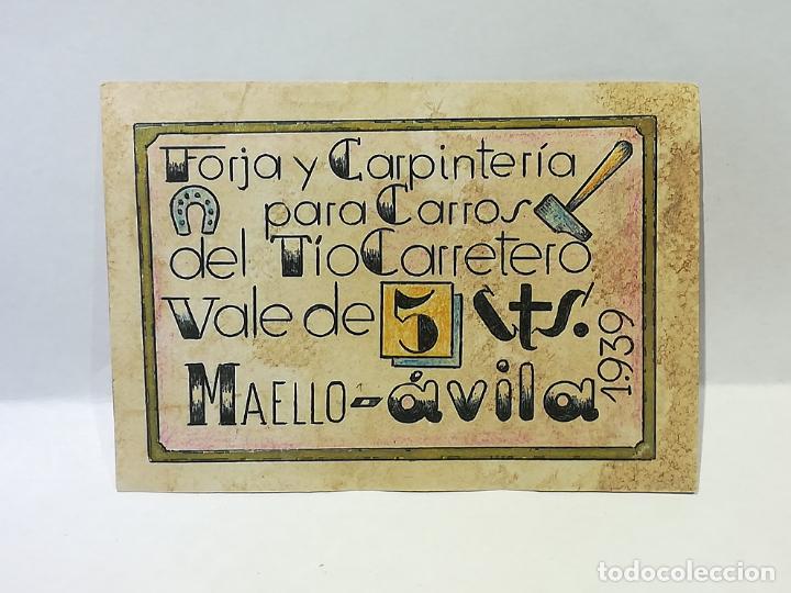 FORJA Y CARPINTERIA DEL TIO CARRETERO. VALE DE 5 CENTIMOS. 1939. MAELLO, AVILA. VER DORSO (Numismática - España Modernas y Contemporáneas - Locales y Fichas Dinerarias y Comerciales)