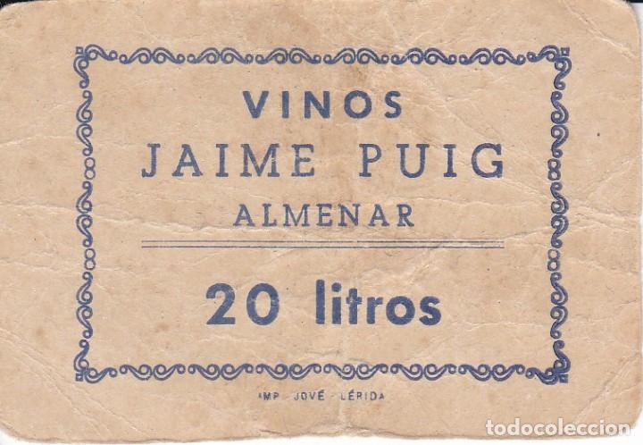 VALE DE VINOS JAIME PUIG DE ALMENAR - VALE 20 LITROS CON SELLO DETRÁS (LERIDA-LLEIDA) (Numismática - España Modernas y Contemporáneas - Locales y Fichas Dinerarias y Comerciales)