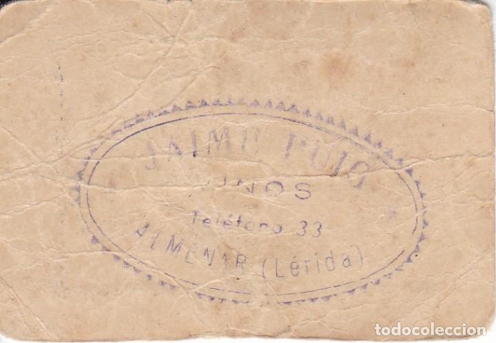 Monedas locales: VALE DE VINOS JAIME PUIG DE ALMENAR - VALE 20 LITROS CON SELLO DETRÁS (LERIDA-LLEIDA) - Foto 2 - 246494585