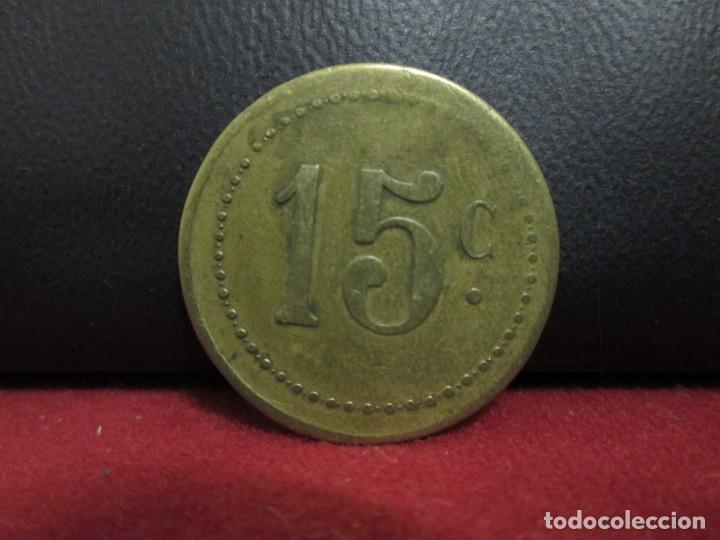 FICHA COMERCIAL 15 CENTIMOS (Numismática - España Modernas y Contemporáneas - Locales y Fichas Dinerarias y Comerciales)