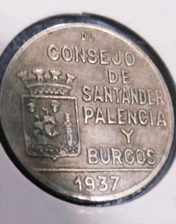 Monedas locales: Peseta de 1937 República Española, Consejo de Santander, Palencia y Burgos - Foto 2 - 247768525