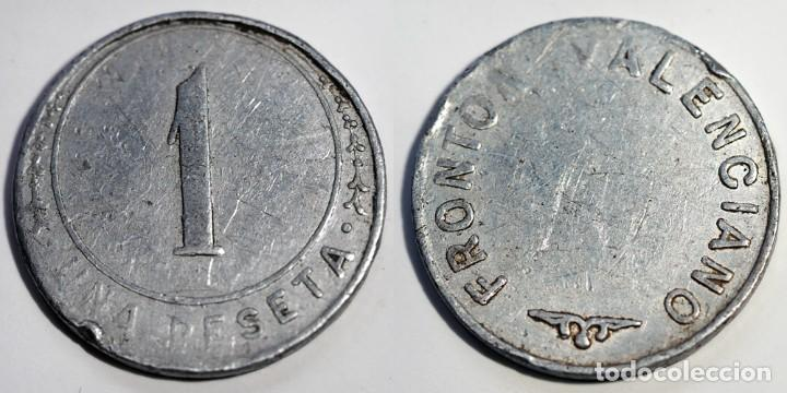 UNA PESETA FRONTON VALENCIANO (Numismática - España Modernas y Contemporáneas - Locales y Fichas Dinerarias y Comerciales)