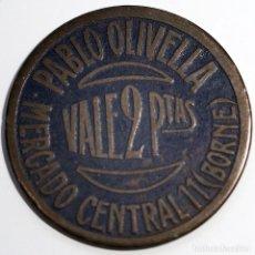 Monedas locales: VALE 2 PTAS. PABLO OLIVELLA - MERCADO CENTRAL 11 (BORNE). Lote 246738060