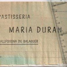 Monedas locales: 1936 / 39 CA. PASTISSERIA MARIA DURAN VALLFOGONA DE BALAGUER CARTILLA VALES POR 1 KILO DE PAN. Lote 248936405