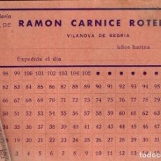 Monedas locales: PANADERÍA RAMÓN CARNICE ROTELLA VILANOVA DE SEGRIA TARJETÓN 105 VALES TACHABLES POR 1 KILO DE HARINA. Lote 248938920