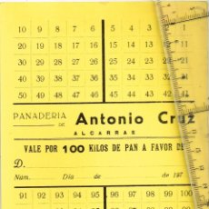 Monedas locales: PANADERÍA ANTONIO CRUZ - ALCARRAS - TARJETÓN VALE TOTAL DE 100 KILOS DE PAN EN RECUADROS TACHABLES. Lote 248948755
