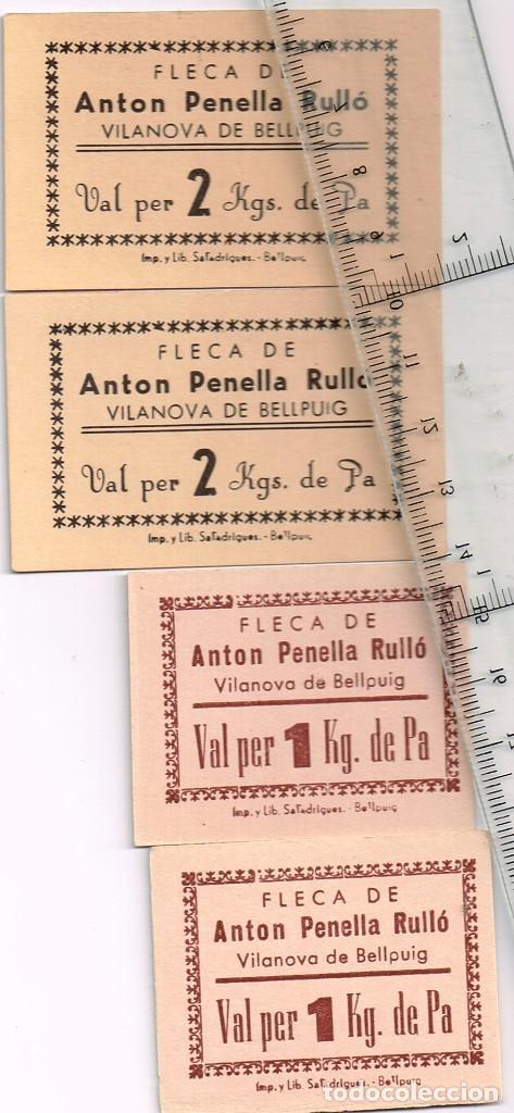 FLECA DE ANTON PENELLA RULLÓ VILANOVA DE BELLPUIG LOTE 4 VALES 2 POR 1 KILO PA Y 2 POR 2 KILOS PA (Numismática - España Modernas y Contemporáneas - Locales y Fichas Dinerarias y Comerciales)