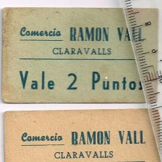 Monedas locales: CLARAVALLS COMERCIO RAMÓN VALL VALES 1 DE 1 PUNTO Y 1 DE 2 PUNTOS. Lote 248974760