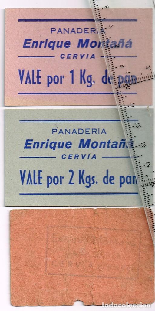Monedas locales: CERVIA Panadería Enrique Montañá lote 3 vales de pan 1 de 1 Kg., 1 de 2 Kgs. y 1 de 5 Kgs. - Foto 2 - 248982725