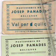 Monedas locales: 1964 ¿? BELIANES PASTISSERIA DE JOSEP PANADES 4 VALES, 1 DE 1 KG. Y 3 DE 3 KGS.. Lote 248988140