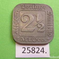 Monedas locales: FICHA BERLÍN ALEMANIA , ALLGEMEINER BERLINER OMNIBUS 2-1/2 PFENNIG 1920, TOKEN, JETON. Lote 250342170