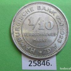 Monedas locales: FICHA, HAMBURGO ALEMANIA, 1/10 VERRECHNUNGSMARKE 1923, MONEDA DE NECESIDAD, TOKEN, JETÓN. Lote 251084370