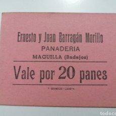 Monedas locales: MAGUILLA. BADAJOZ. PANADERIA ERNESTO Y JUAN BARRAGÁN MORILLO. VALE POR 20 PANES. Lote 252122395