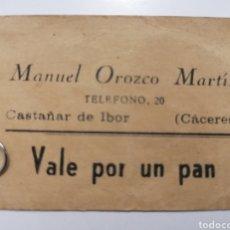 Monedas locales: CASTAÑAR DE IBOR. CACERES. MANUEL OROZCO MARTÍN. VALE POR UN PAN. Lote 252123040