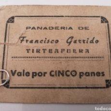 Monedas locales: TIRTEAFUERA, CIUDAD REAL. PANADERIA FRANCISCO GARRIDO. VALE POR 5 PANES. Lote 252257720