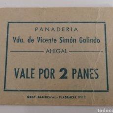 Monedas locales: AHIGAL. PANADERIA VDA. VICENTE SIMON GALINDO. VALE POR 2 PANES.. Lote 252263025