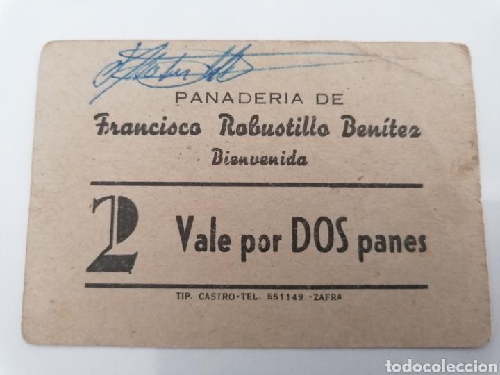 BIENVENIDA. BADAJOZ. PANADERIA FRANCISCO ROBUSTILLO. VALE POR DOS PANES. (Numismática - España Modernas y Contemporáneas - Locales y Fichas Dinerarias y Comerciales)