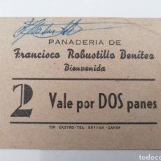 Monedas locales: BIENVENIDA. BADAJOZ. PANADERIA FRANCISCO ROBUSTILLO. VALE POR DOS PANES.. Lote 252593475