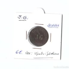 Moedas locais: FICHA MONETARIA LOCAL. J. G. CON ESCUDO ISABELINO EN REVERSO. SEVILLA. Lote 253012170