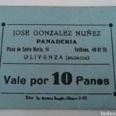 Moedas locais: OLIVENZA. BADAJOZ. PANADERIA JOSE GONZALEZ NUÑEZ. VALE POR 10 PANES.. Lote 253982880