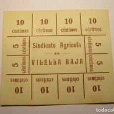 Monedas locales: VALE MONETARIO ANTIGUO DEL SINDICATO AGRÍCOLA DE LA VILELLA BAIXA.. Lote 254469305