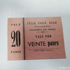 Monedas locales: PANADERIA FELIX VEGA DIAZ VILLANUEVA DEL FRESNO VALE POR 20 PANES. Lote 254840745