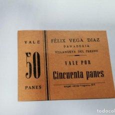 Monedas locales: PANADERIA FELIX VEGA DIAZ VILLANUEVA DEL FRESNO VALE POR 50 PANES. Lote 254840770