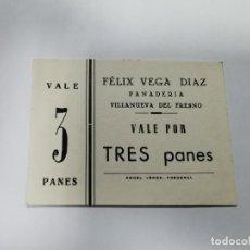 Monedas locales: PANADERIA FELIX VEGA DIAZ VILLANUEVA DEL FRESNO VALE POR 3 PANES. Lote 254840800