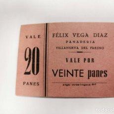 Monedas locales: PANADERIA FELIX VEGA DIAZ VILLANUEVA DEL FRESNO VALE POR 20 PANES. Lote 254841050