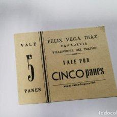 Monedas locales: PANADERIA FELIX VEGA DIAZ VILLANUEVA DEL FRESNO VALE POR 5 PANES. Lote 254841125