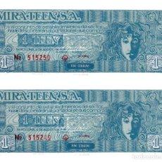 Monedas locales: 2 BILLETES DE 1 TEEN AÑO 1969 CORRELATIVOS. AUTORIZADO POR F.N.M.T. - 1 TEEN = 5 PTAS, SIN CIRCULAR.. Lote 256155380