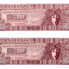 Monedas locales: 2 BILLETES DE 1 TEEN AÑO 1969 CORRELATIVOS. AUTORIZADO POR F.N.M.T. - 1 TEEN = 5 PTAS, SIN CIRCULAR.. Lote 256155640