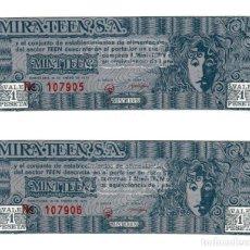 Monedas locales: 2 BILLETES MINI TEEN AÑO 1970 CORRELATIVOS. AUTORIZADO POR F.N.M.T. - 1 MINI TEEN = 1 PTAS, S/C. Lote 256156700