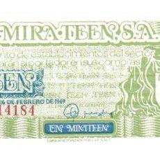 Monedas locales: BILLETE 1/5 MINI TEEN AÑO 1969 - AUTORIZADO POR F.N.M.T. - 1/5 TEEN = 1 PTAS, S/C. Lote 256157555