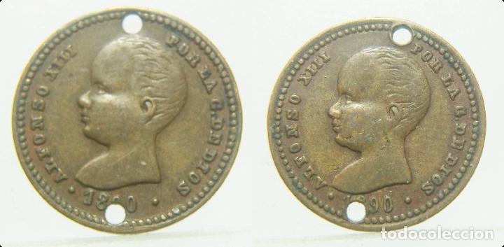 FICHA A IDENTIFICAR ALFONSO XIII POR LA G. DE DIOS 1890. 17 MM (Numismática - España Modernas y Contemporáneas - Locales y Fichas Dinerarias y Comerciales)