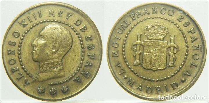 FICHA PUBLICIDAD MADRID LA MUTUAL FRANCO ESPAÑOLA ALFONSO XIII (Numismática - España Modernas y Contemporáneas - Locales y Fichas Dinerarias y Comerciales)