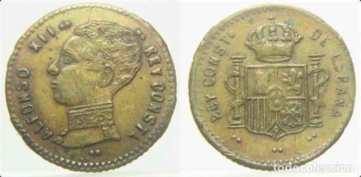 ALFONSO XII FICHA A IDENTIFICAR 16 MM (Numismática - España Modernas y Contemporáneas - Locales y Fichas Dinerarias y Comerciales)