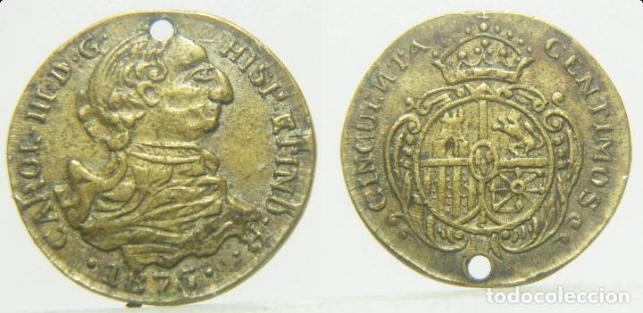 FICHA O JETON A IDENTIFICAR CARLOS III 50 CENTIMOS 1875 16 MM (Numismática - España Modernas y Contemporáneas - Locales y Fichas Dinerarias y Comerciales)