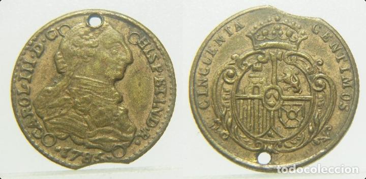 FICHA O JETON A IDENTIFICAR CARLOS III 50 CENTIMOS 1785 16 MM (Numismática - España Modernas y Contemporáneas - Locales y Fichas Dinerarias y Comerciales)