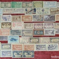 Monedas locales: COLECCION DE 52 BILLETES LOCALES DE CATALUÑA. PERFECTO ESTADO. 1937.. Lote 257591890