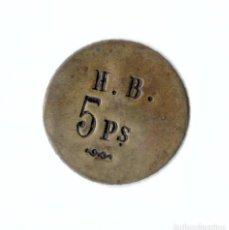 Monedas locales: FICHA MONETARIA. H. B. 5 PESETAS. GRAN MÓDULO 35 MM.. Lote 257878850
