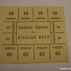 Monedas locales: VALE MONETARIO ANTIGUO DEL SINDICATO AGRÍCOLA DE LA VILELLA BAIXA.. Lote 259054890